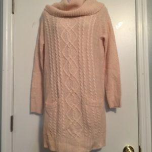 Very J Cow Neck Ivory Sweater Dress
